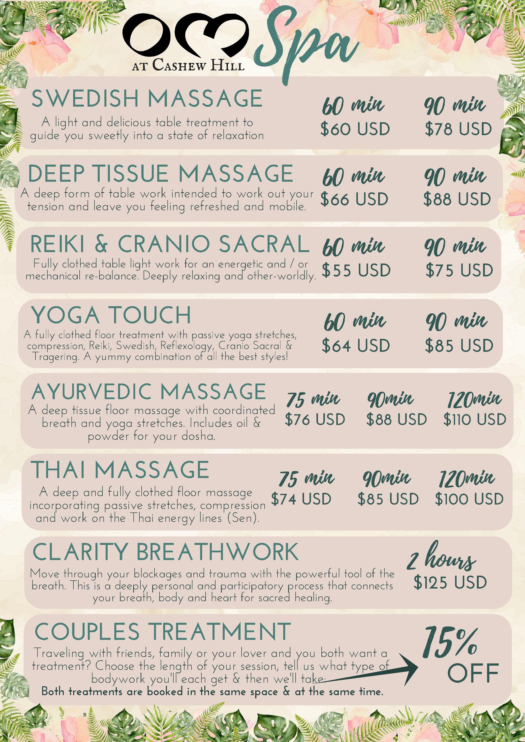 OM at Cashew Hill Puerto Viejo massage yoga